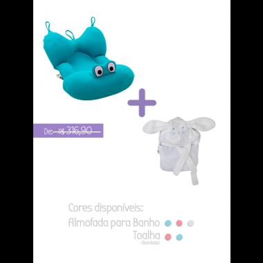 Kit 2: Almofada para banho + Toalha infantil com alça